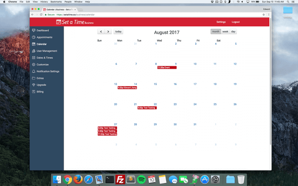 Set a Time - An appointment scheduling software showing business calendar dashboard