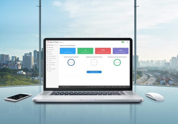 The best appointment scheduling software pulled up on a laptop computer