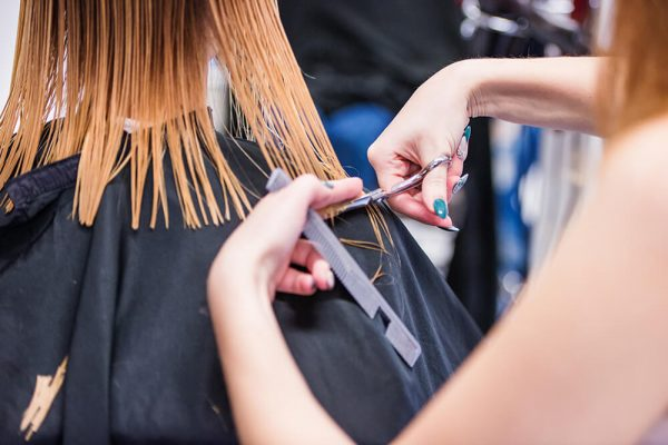 Women getting a haircut by a hairstylist in a salon